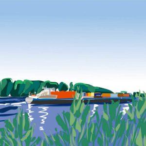 Kunstbild Schiff am Rheinufer